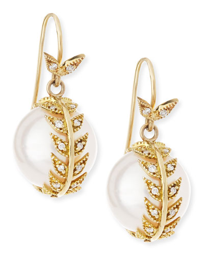 Diamond Feather Wrap Pearl Earrings