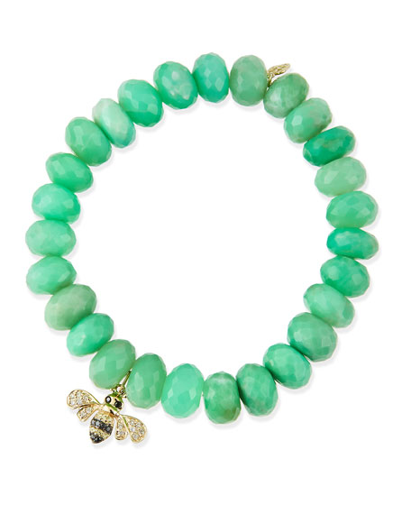 Sydney Evan Chrysoprase Beaded Bracelet with Diamond Bee