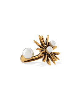 Starburst Simulated-Pearl Ring