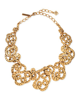 Golden Swirl Statement Necklace