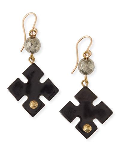 Vidogo Dark Horn Clover Drop Earrings