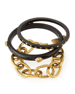 Mikufu Dark Horn Bracelets, Set of 3