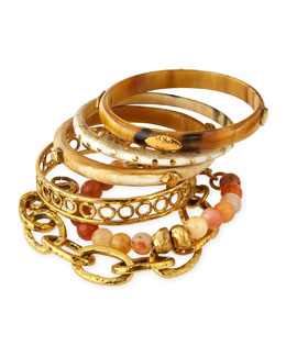 Zito Mixed Bangle Set, Bronze/Light Horn