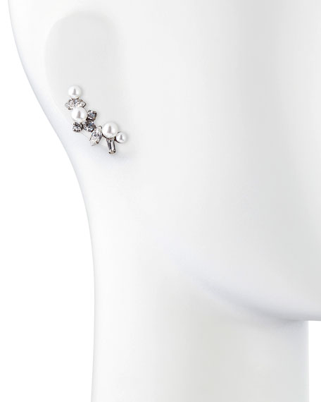 Leni Simulated Pearl & Crystal Earring Cuff