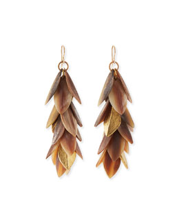 Tanzu Layered Leaf Dangle Earrings, Light Horn