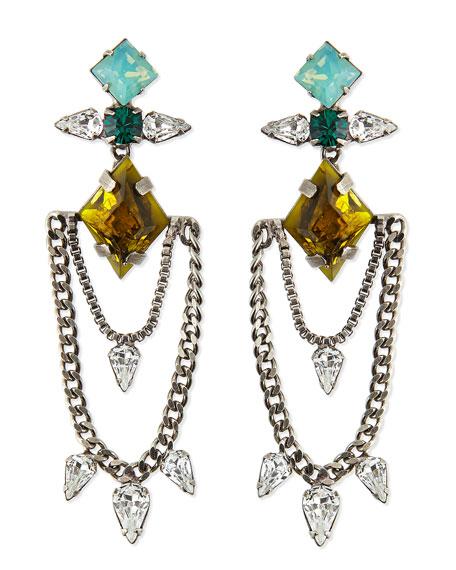 Nadia Crystal Chain Earrings