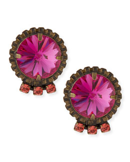 Bracco Pink Crystal Stud Earrings