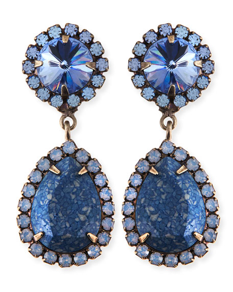 Monaco Light Blue & Crystal Statement Earrings