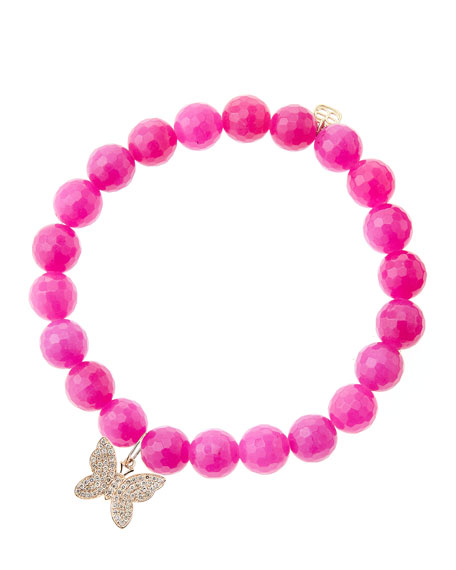 8mm Fuchsia Agate Beaded Bracelet with 14k Rose