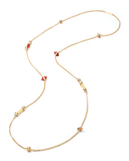 Gold-Plated Mixed-Station Long Necklace