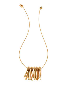 Gold-Plated Fringe Pendant Necklace