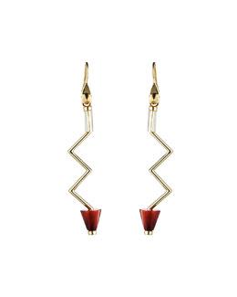 Gold-Plated Carnelian Zigzag Earrings