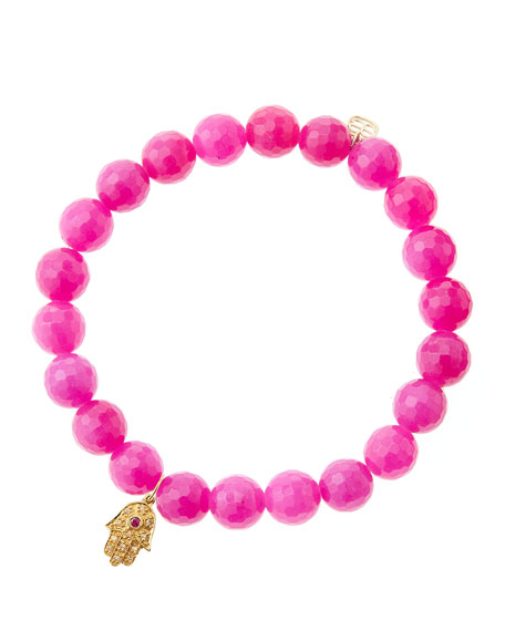 Sydney Evan Fuchsia Agate Beaded Bracelet with 14k