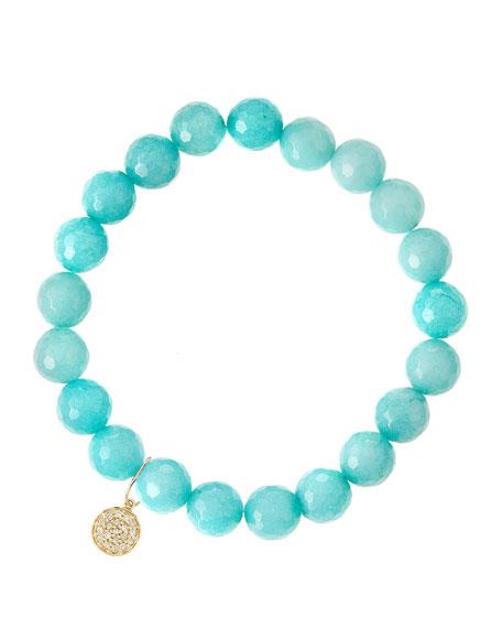 Aqua Jade Beaded Bracelet with 14k Gold Diamond