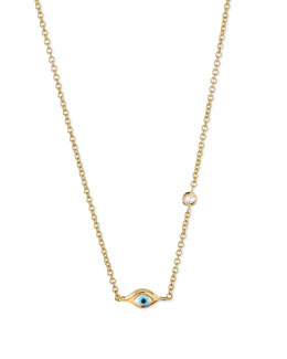 14k Gold Mini Evil Eye Necklace with Diamond