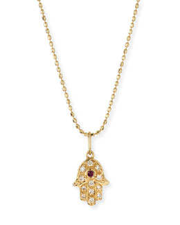 14k Gold Diamond Hamsa Pendant Necklace