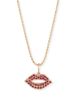 14k Gold Ruby Lips Pendant Necklace