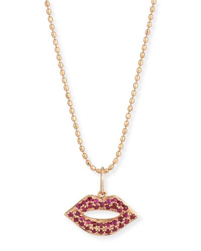 14k Gold Ruby Lips Pendant Necklace