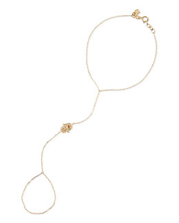 14k Gold Diamond Hamsa Hand Chain