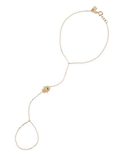 14k Gold Diamond Hamsa Hand Chain