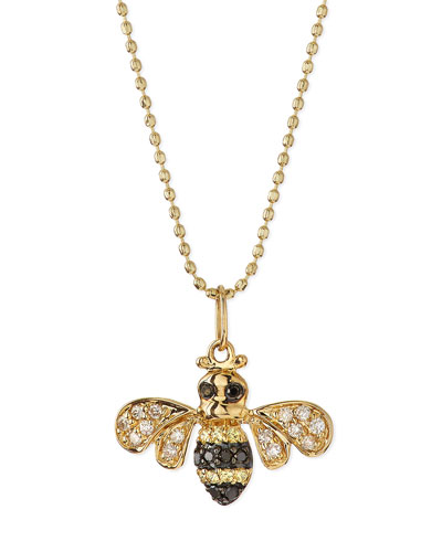 14k Gold Diamond Bee Pendant Necklace