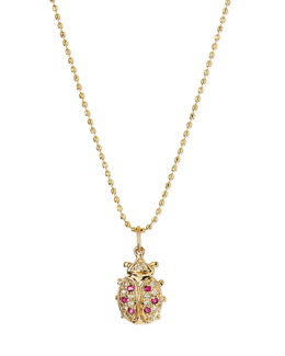 14k Gold Diamond & Ruby Ladybug Pendant Necklace