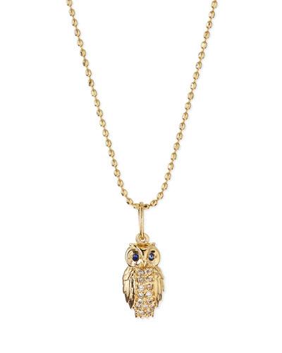 14k Gold Diamond Owl Pendant Necklace