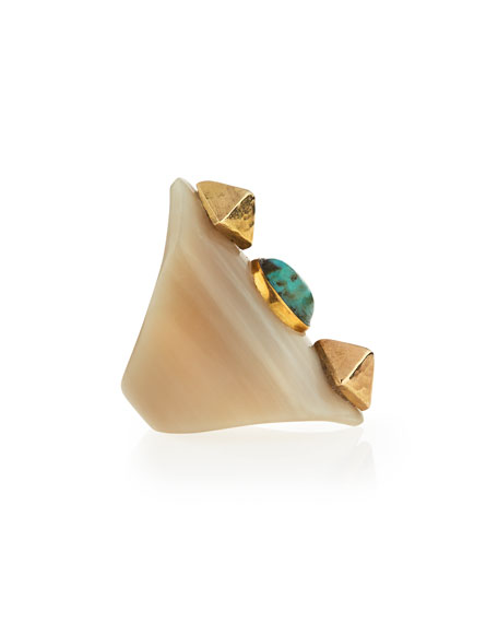 Mwamba Horn Ring with Turquoise