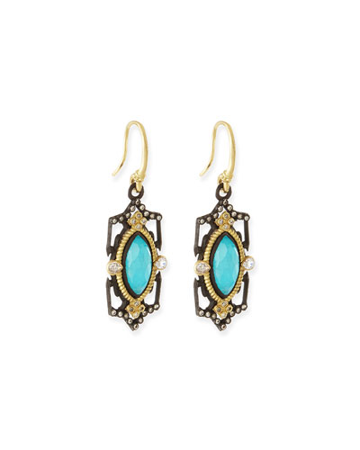 Blue Turquoise Scroll Drop Earrings