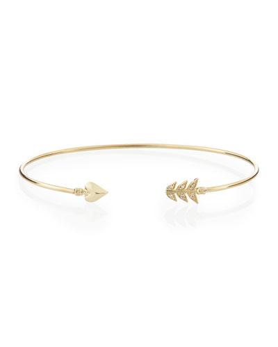 14-Karat Gold Diamond Arrow Cuff