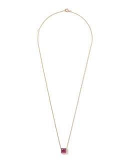18k Gold Rock Candy Mini Single Square Pendant Necklace
