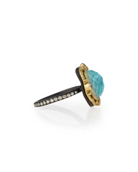Old World Blue Turquoise & Diamond Ring