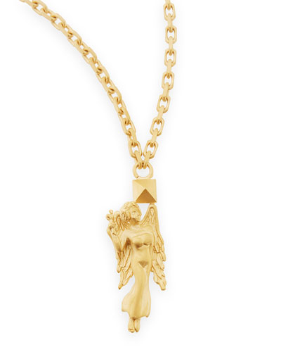 "Golden Virgo Zodiac Necklace, 36""L"