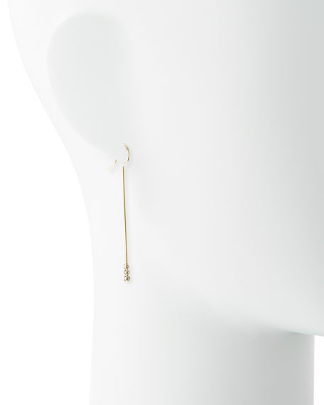 14k Gold Three-Diamond Bar Earrings