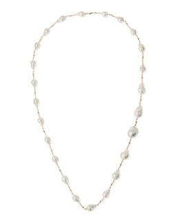 14k Gold Pearl Station Necklace, 30