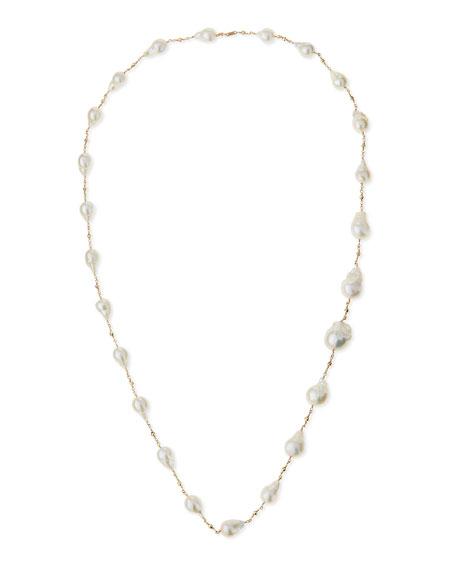 "14k Gold Pearl Station Necklace, 30""L"