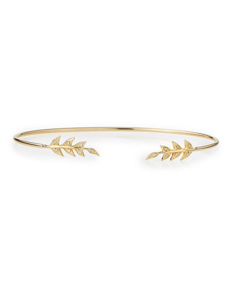 14k Gold Cuff with Diamond Petals