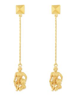 Golden Aquarius Zodiac Earrings