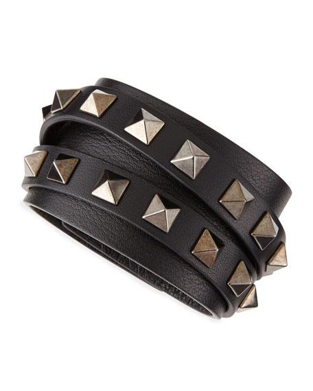 Multi-Strand Leather Rockstud Wrap Bracelet, Black