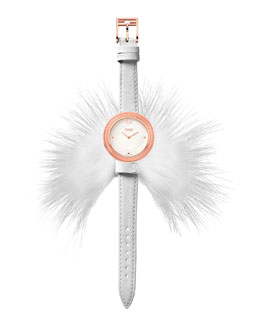 Fendi My Way Watch with Removable Fur Glamy, White/Rose