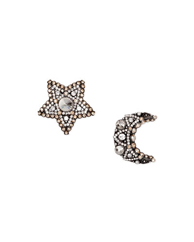 Crystal Moon & Star Stud Earrings
