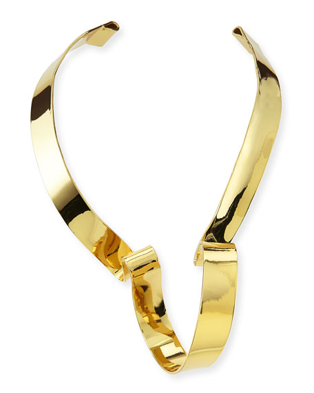Large Golden Ribbon Collar Necklace