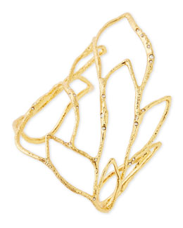 Golden Crystal Embellished Rocky Leaf Cuff