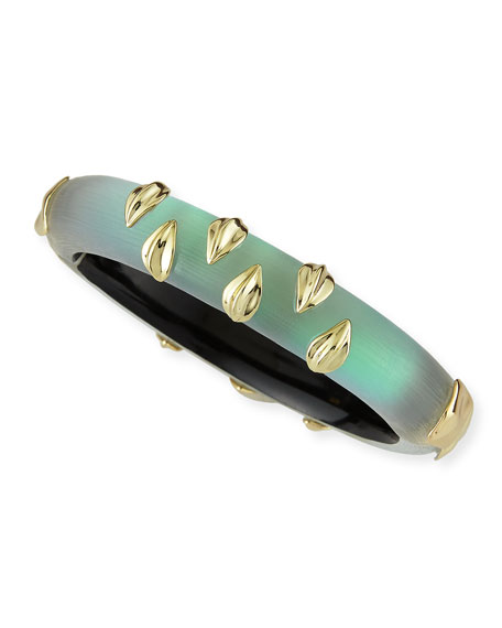 Vert d'Eau Scarred Lucite Hinge Bangle, Green
