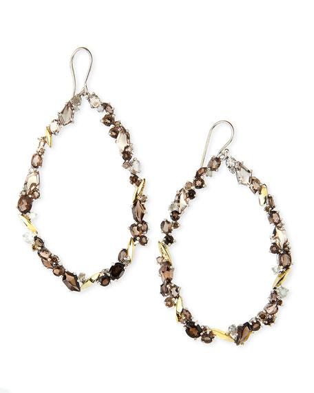 Smoky Quartz & Diamond Oval Cluster Hoop Earrings