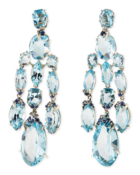 Alexis Bittar Fine Blue Topaz Quartz Shire Diamond Chandelier Earrings