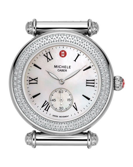 11013c981 MICHELE Caber Diamond Watch Head & Alligator Strap