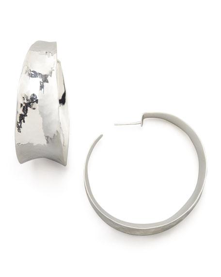 Hammered Silver Hoop Earrings