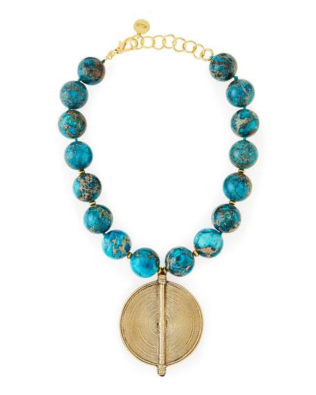 Chunky Turquoise Jasper Beaded Pendant Necklace