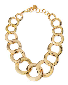 Hammered Gold-Plated Chain Link Necklace